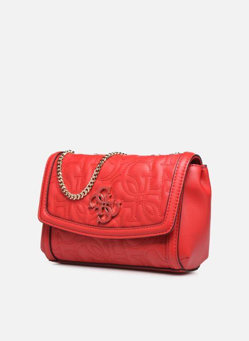 Sacs à main Guess NEW WAVE MINI CONVERTIBLE CROSSBODY Rouge vue portées chaussures