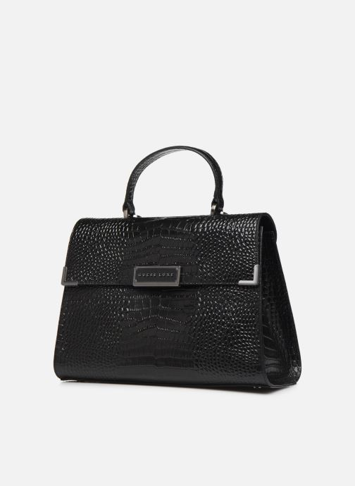 Bolsos de mano Guess BELL LEATHER TOP HANDLE FLAP Negro vista del modelo