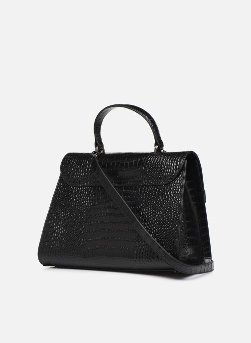 Bolsos de mano Guess BELL LEATHER TOP HANDLE FLAP Negro vista lateral derecha