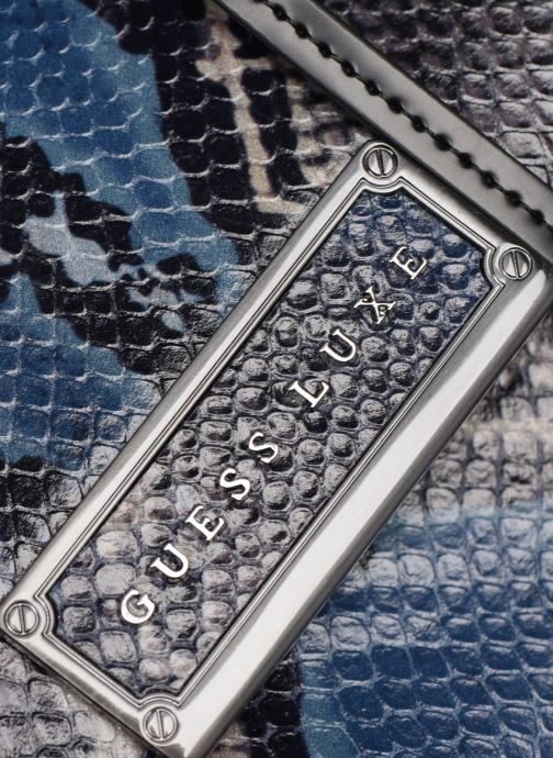Bolsos de mano Guess BELL LEATHER CROSSBODY FLAP Azul vista lateral izquierda