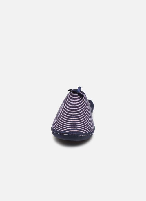 Chaussons Isotoner Mule ergonomique jersey rayé Bleu vue portées chaussures