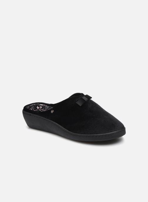 Chaussons Isotoner Mule micro velours Noir vue détail/paire