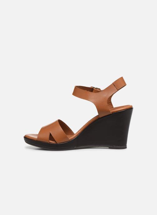 Sandales et nu-pieds Georgia Rose Efani Marron vue face