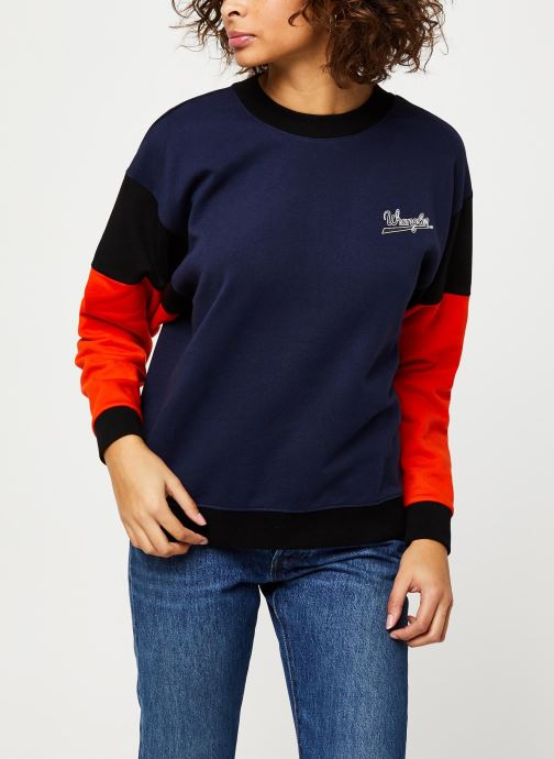 Vêtements Wrangler HIGH RIB RETRO SWEAT Bleu vue droite
