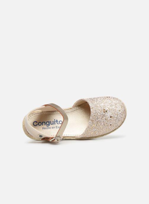 Alpargatas Conguitos Glitter Oro y bronce vista lateral izquierda