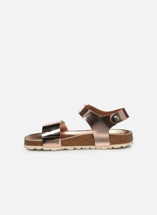 Sandalias Conguitos Metalizado Velcro Oro y bronce vista de frente