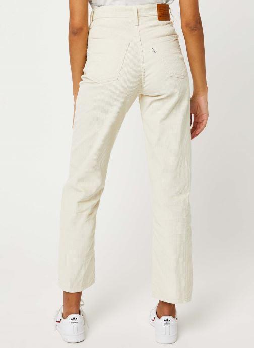 Vêtements Levi's Ribcage Straight Ankle Jeans Blanc vue portées chaussures