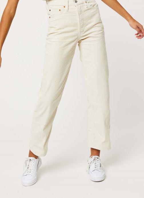 Vêtements Levi's Ribcage Straight Ankle Jeans Blanc vue détail/paire