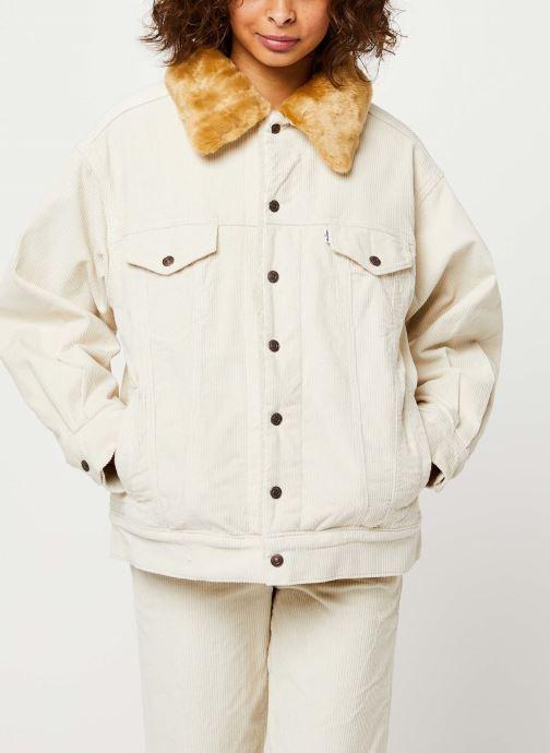 Vêtements Levi's Oversized Cord Fur Trucker Jacket Beige vue droite