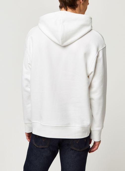Vêtements Levi's RELAXED GRAPHIC HOODIE Blanc vue portées chaussures
