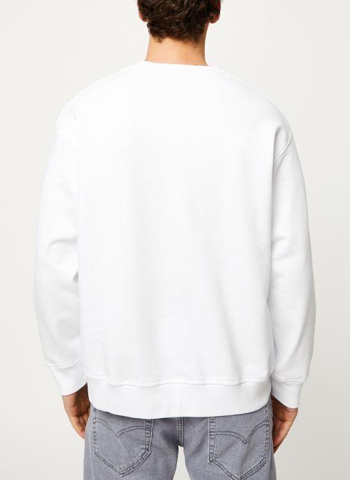 Vêtements Levi's RELAXED GRAPHIC CREWNECK Blanc vue portées chaussures
