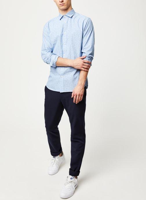 Vêtements Selected Homme Slhslimmark Washed Shirt LS Bleu vue bas / vue portée sac