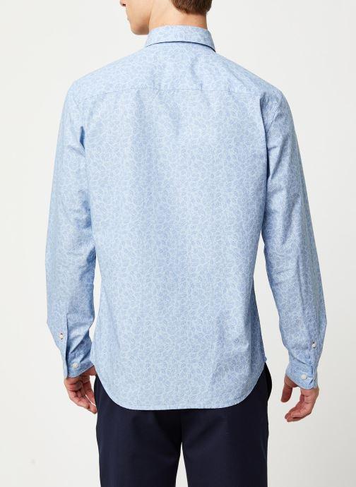Vêtements Selected Homme Slhslimmark Washed Shirt LS Bleu vue portées chaussures
