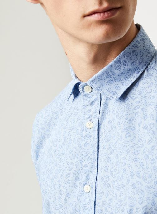 Vêtements Selected Homme Slhslimmark Washed Shirt LS Bleu vue face