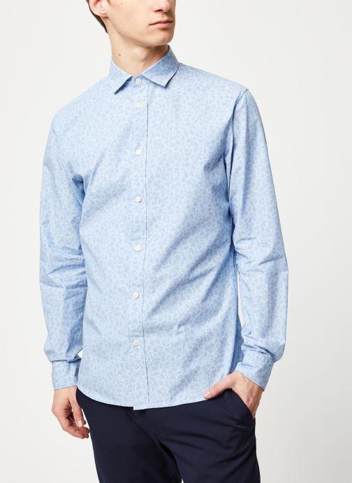 Vêtements Selected Homme Slhslimmark Washed Shirt LS Bleu vue droite