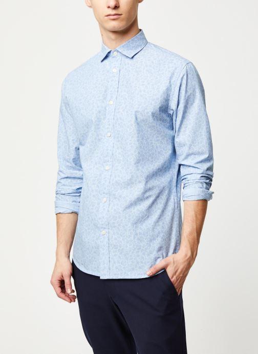 Vêtements Selected Homme Slhslimmark Washed Shirt LS Bleu vue détail/paire
