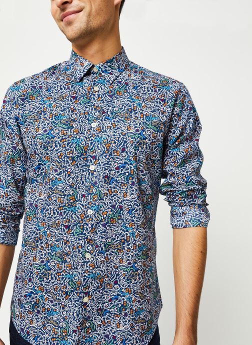 Vêtements Selected Homme Slhslimnigel Shirt LS Bleu vue droite