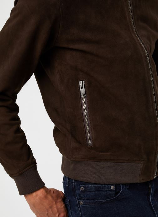 Vêtements Selected Homme Slh B-01 Bomber Suede Jacket Marron vue face