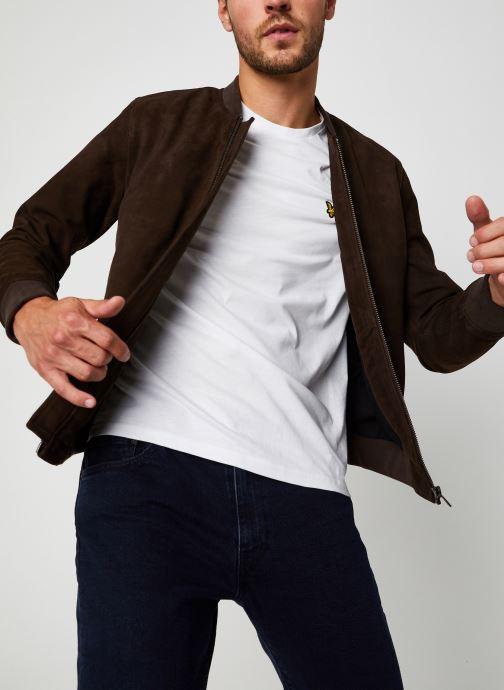 Vêtements Selected Homme Slh B-01 Bomber Suede Jacket Marron vue détail/paire