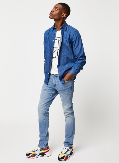 Vêtements Selected Homme Slhslimnolan Shirt LS Bleu vue bas / vue portée sac