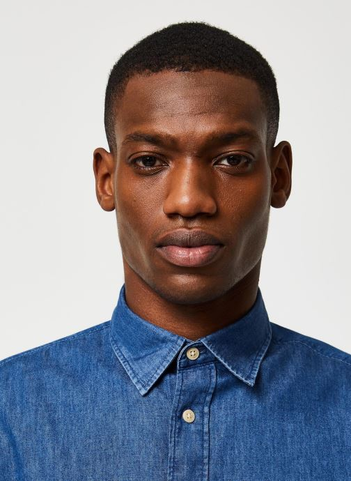 Vêtements Selected Homme Slhslimnolan Shirt LS Bleu vue face