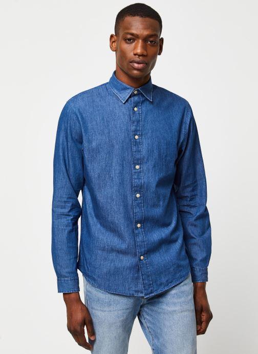 Vêtements Selected Homme Slhslimnolan Shirt LS Bleu vue droite
