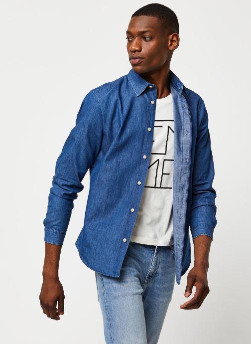 Vêtements Selected Homme Slhslimnolan Shirt LS Bleu vue détail/paire