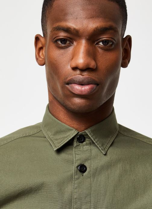 Vêtements Selected Homme Slhregavi Shirt LS Vert vue face