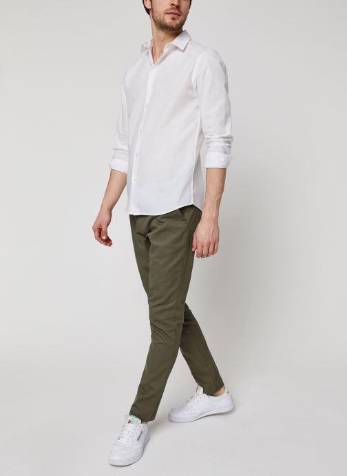 Vêtements Selected Homme Slhslimlinen Shirt LS Blanc vue bas / vue portée sac