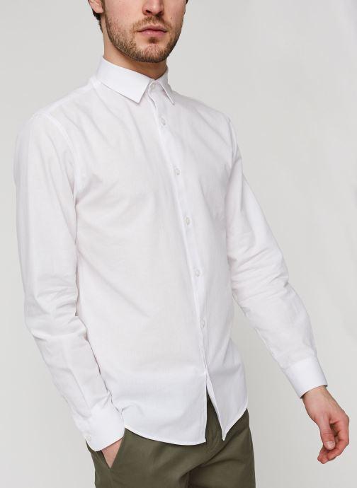 Vêtements Selected Homme Slhslimlinen Shirt LS Blanc vue droite