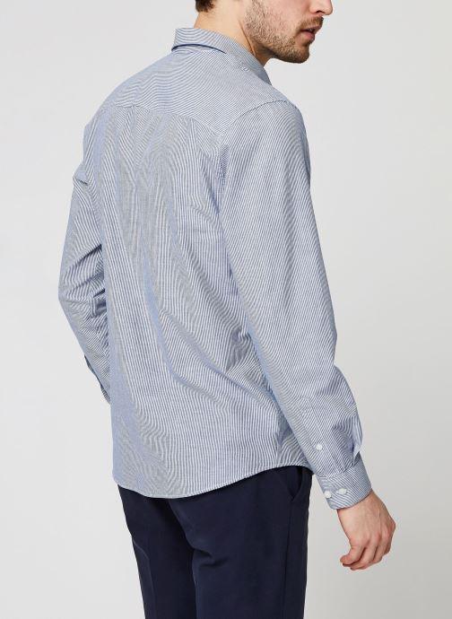 Vêtements Selected Homme Slhslimlinen Shirt LS Bleu vue portées chaussures