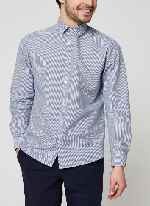 Vêtements Selected Homme Slhslimlinen Shirt LS Bleu vue droite