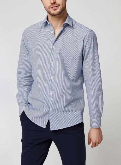Vêtements Selected Homme Slhslimlinen Shirt LS Bleu vue détail/paire