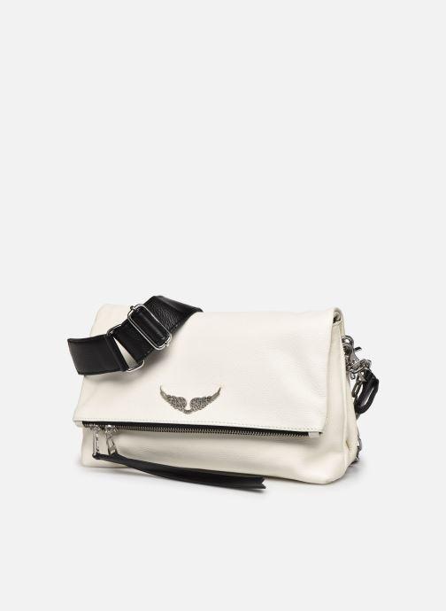 Sacs à main Zadig & Voltaire Rocky Grained L Blanc vue portées chaussures