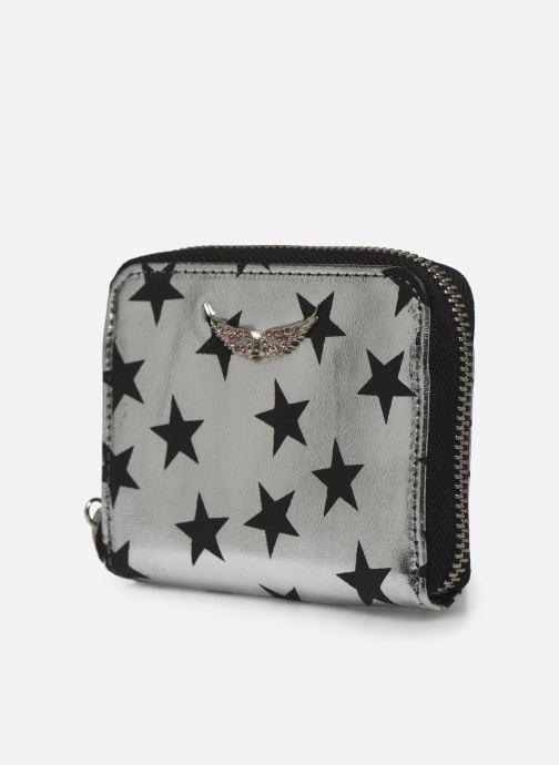 Petite Maroquinerie Zadig & Voltaire Mini ZV Stars C Argent vue portées chaussures