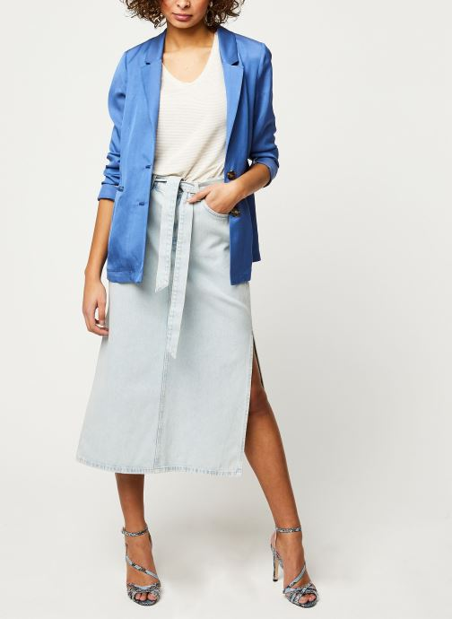 Vêtements Selected Femme ALMA HW LONG DENIM ICE BLUE SKIRT W Bleu vue bas / vue portée sac
