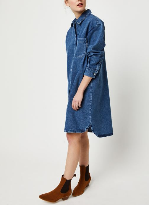 Vêtements Selected Femme HARPER LS LONG FRAY BLUE DENIM SHIR W Bleu vue bas / vue portée sac