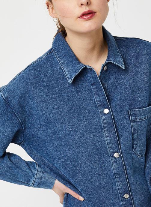 Vêtements Selected Femme HARPER LS LONG FRAY BLUE DENIM SHIR W Bleu vue face