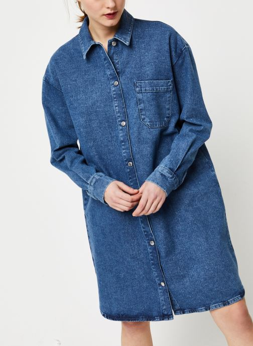 Vêtements Selected Femme HARPER LS LONG FRAY BLUE DENIM SHIR W Bleu vue droite