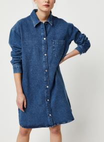 HARPER LS LONG FRAY BLUE DENIM SHIR W