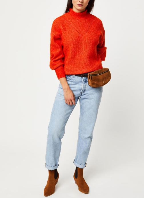 Vêtements Selected Femme INGA LS KNIT FRILL-NECK B Orange vue bas / vue portée sac