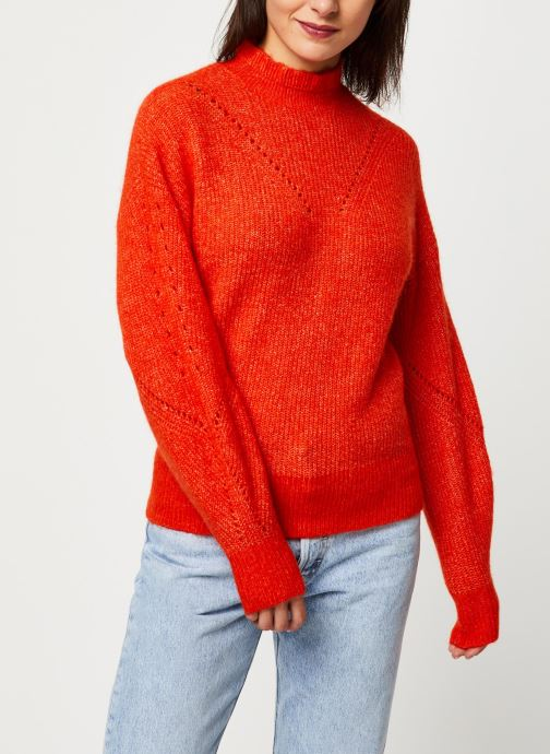 Vêtements Selected Femme INGA LS KNIT FRILL-NECK B Orange vue droite