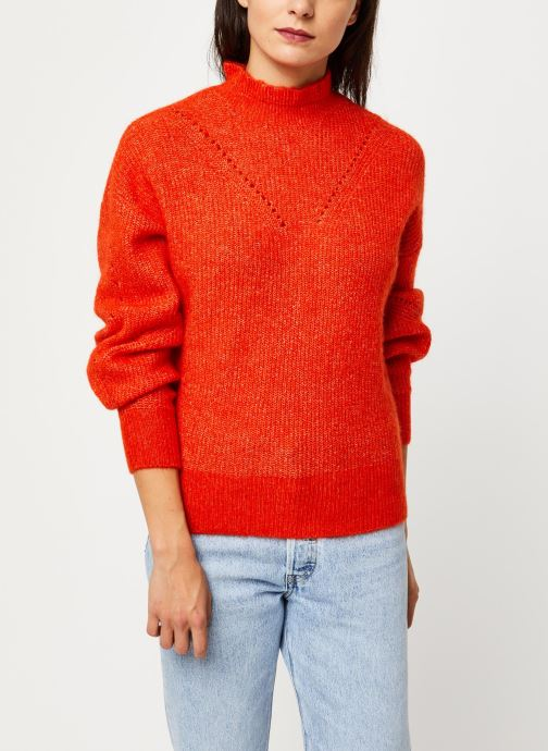 Vêtements Selected Femme INGA LS KNIT FRILL-NECK B Orange vue détail/paire