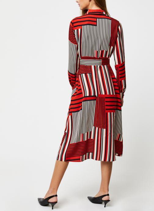 Vêtements Selected Femme MYLA-FLORENTA LS AOP MIDI DRESS B Orange vue portées chaussures