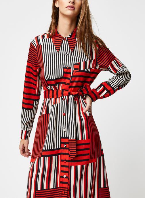 Vêtements Selected Femme MYLA-FLORENTA LS AOP MIDI DRESS B Orange vue droite