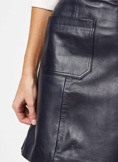 Vêtements Selected Femme SOFIA HW LEATHER SKIRT W Bleu vue face