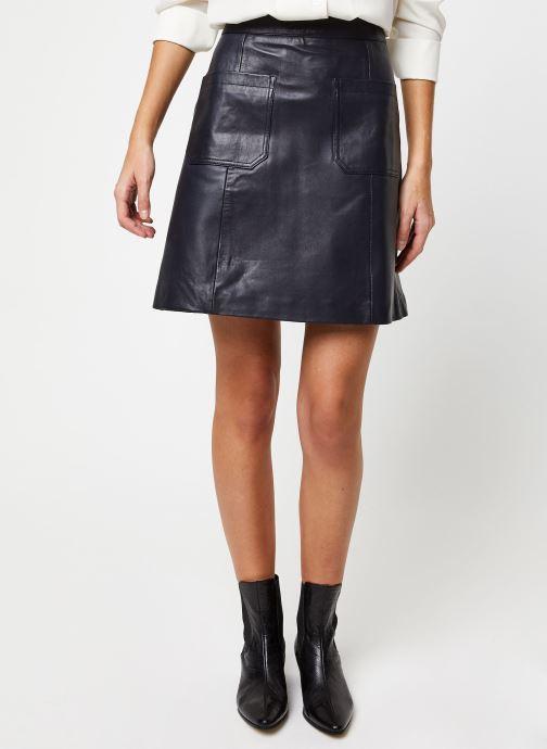 Vêtements Selected Femme SOFIA HW LEATHER SKIRT W Bleu vue détail/paire