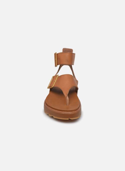 Sandales et nu-pieds Sorel Roaming T-Strap Marron vue portées chaussures