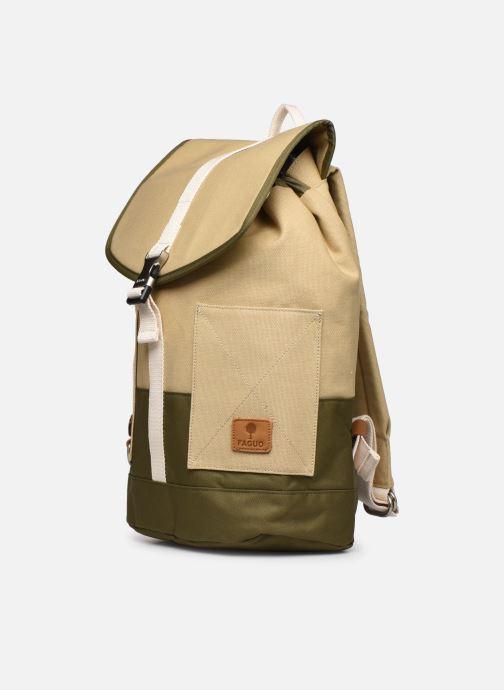 Zaini Faguo Adventurebag Cotton Beige modello indossato