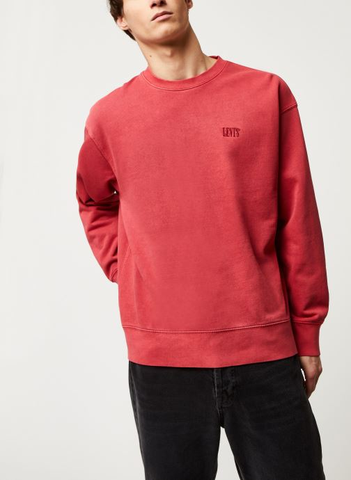 Vêtements Levi's Authentic Logo Crewneck Rouge vue détail/paire